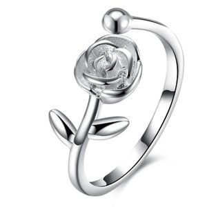 Jewelry - 🌹925 Sterling Silver Adjustable Flower Ring🌹